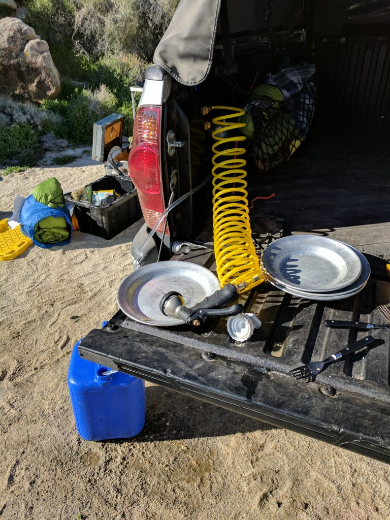 Water pressure system when camping